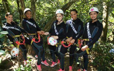Adrénal'île à emmener les Miss dans le canyon Ptit Galet dont Alicia Ayliès, Miss France 2017!